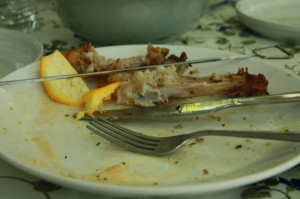 Chicken bones on an empty plate