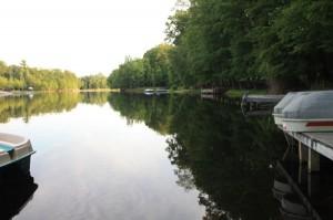 Beautiful lake with boats