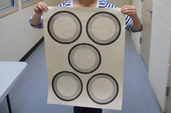 Bullet riddled paper target