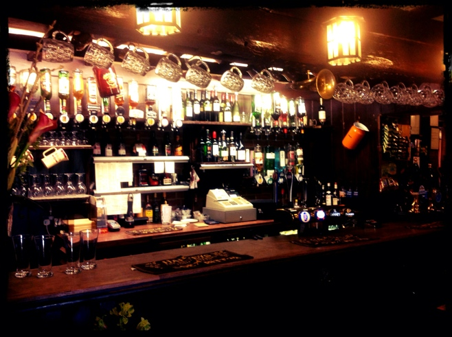 Fully stocked English bar