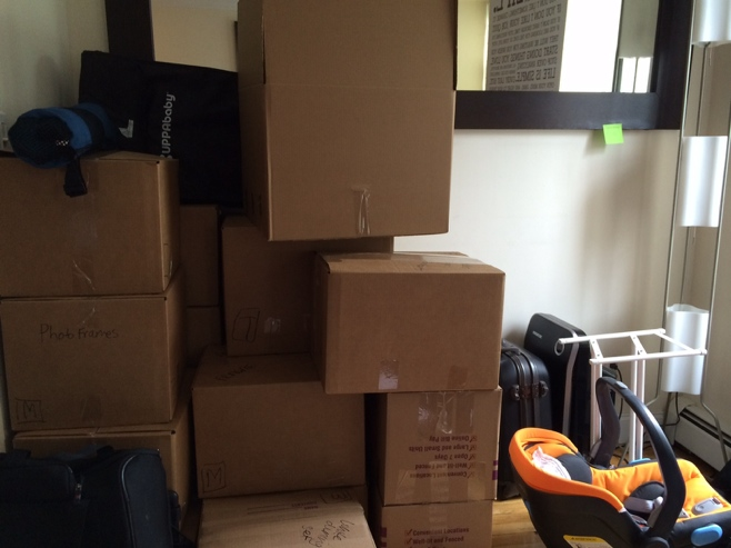 Lots of packing boxes stacked high