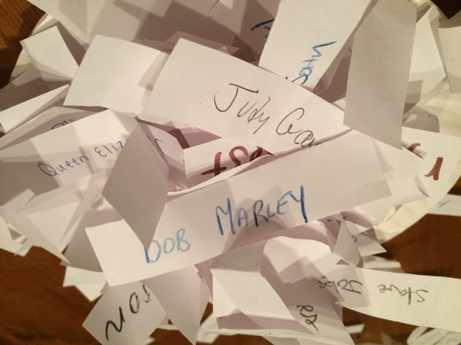 Names written on pieces of paper