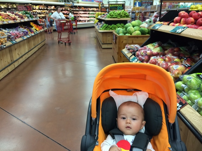 Baby in stroller at Trader Joes