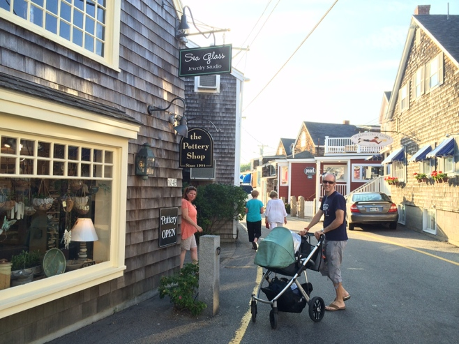 Man pushing stroller at Perkins Cove