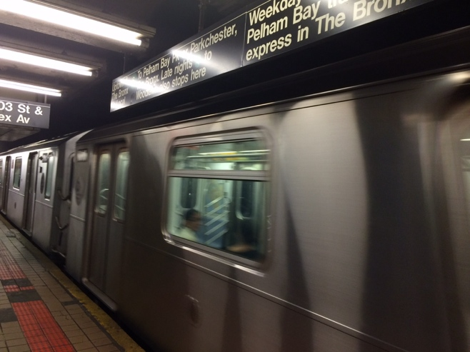 New York subway train pulling into the station