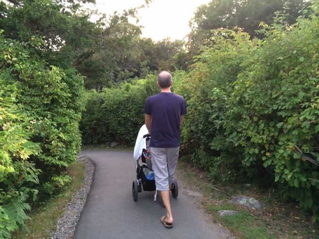 Man walking stroller along beach path