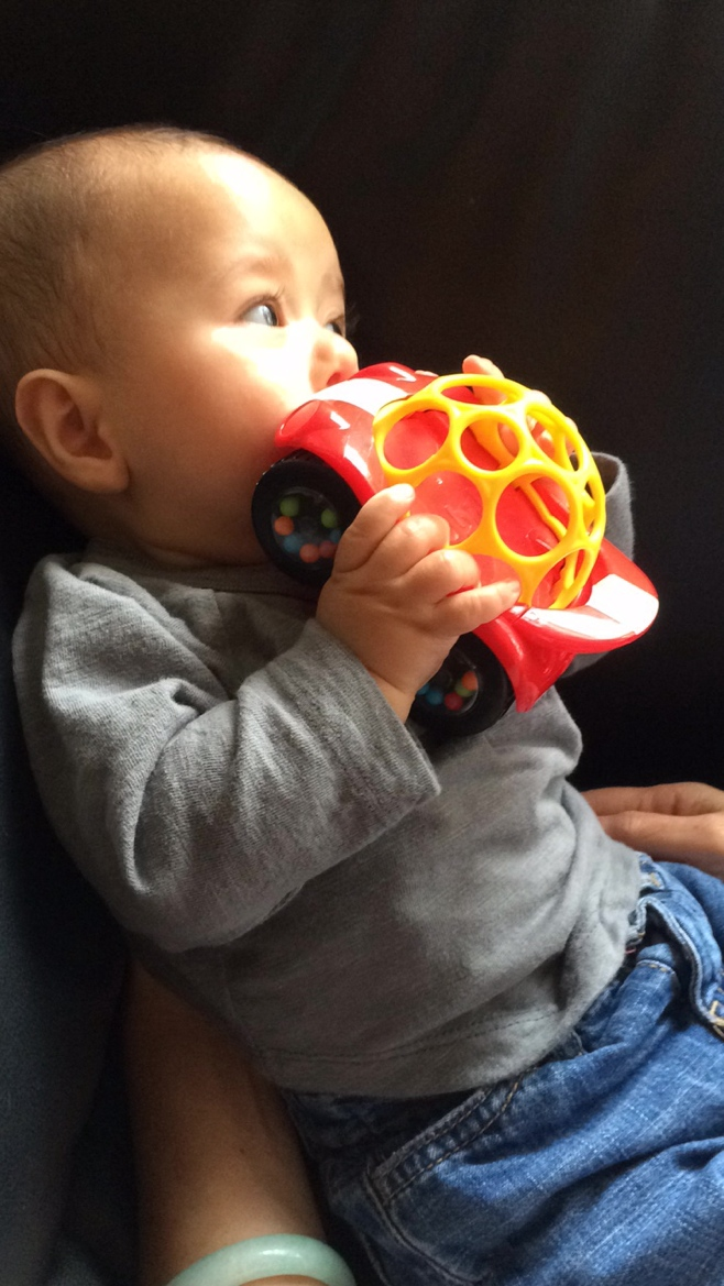Baby eating a toy car