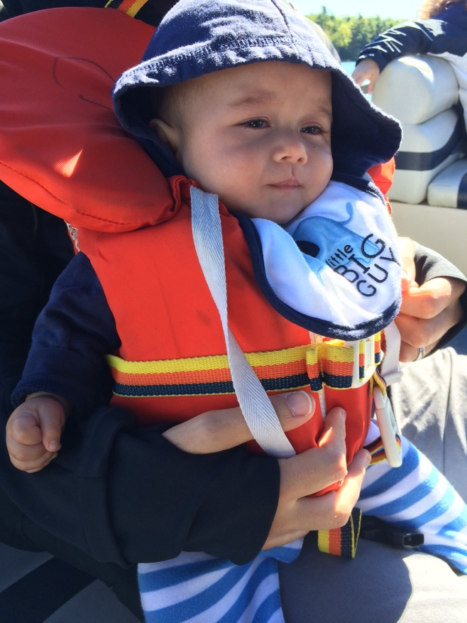 Baby in an infant life jacket