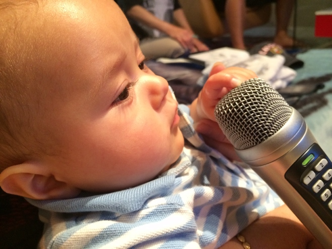 Baby with microphone