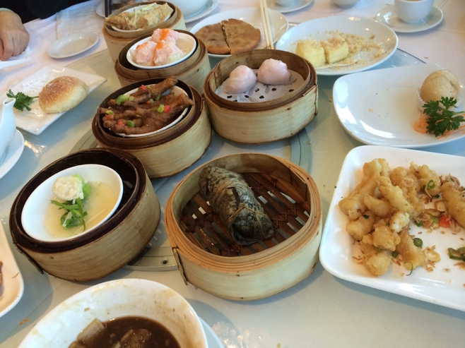Dim sum plates on table