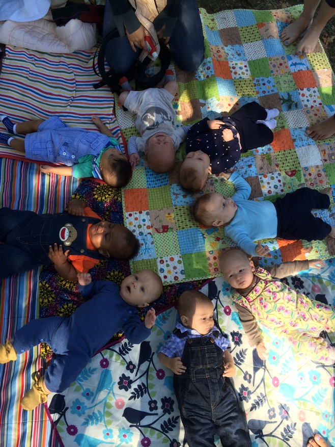 Eight babies lying on a picnic blanket