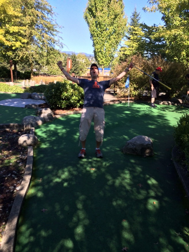 English Hubby celebrating mini golf victory