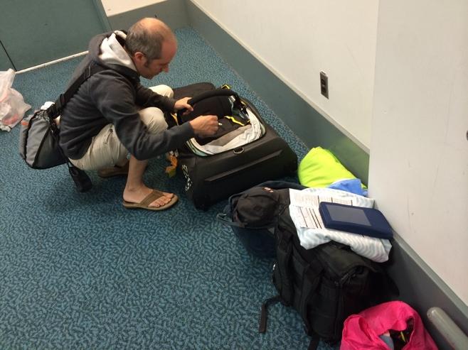 Man assembling stroller