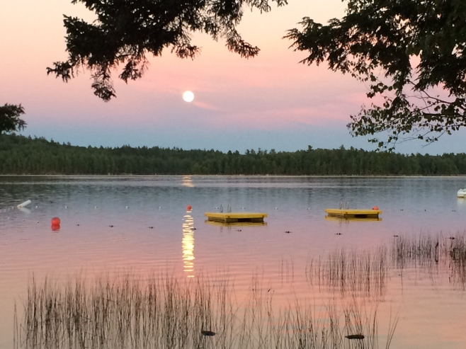Full moon and pink sky over toddy pond