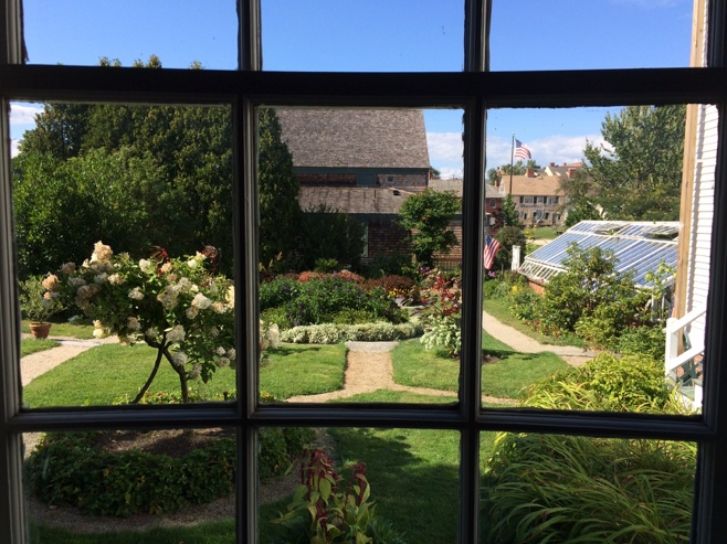 View from a window of gardens