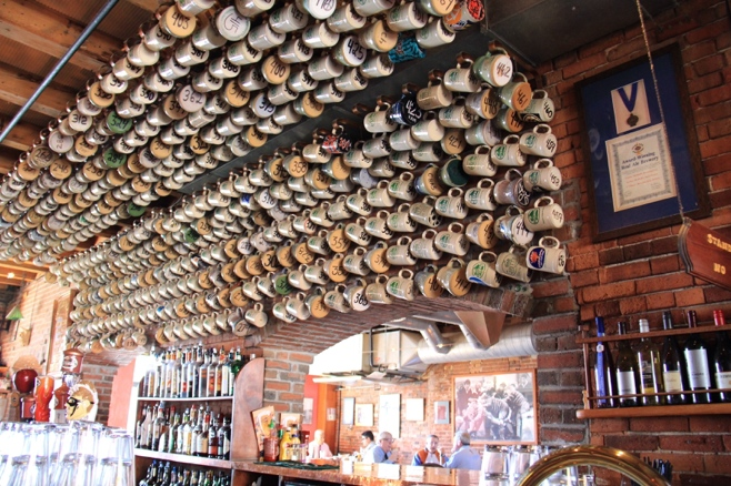 Bar with hanging mugs