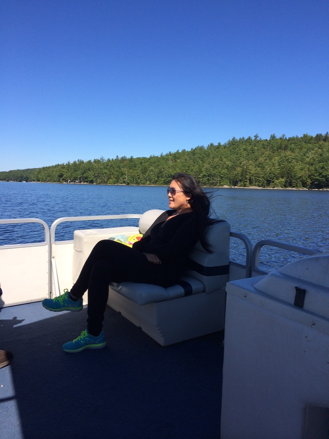 Woman on boat looking out