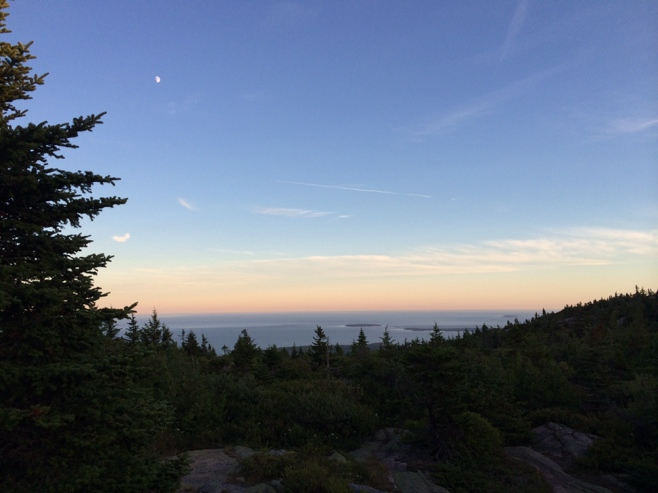 Moon over Cadillac mountain