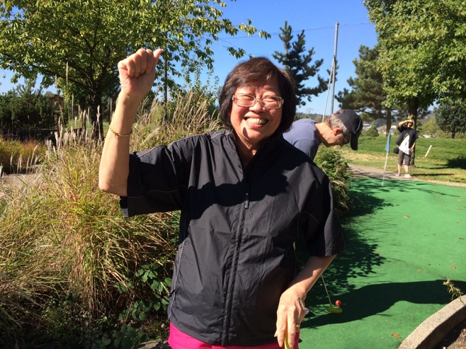 Mum celebrating her hole in one