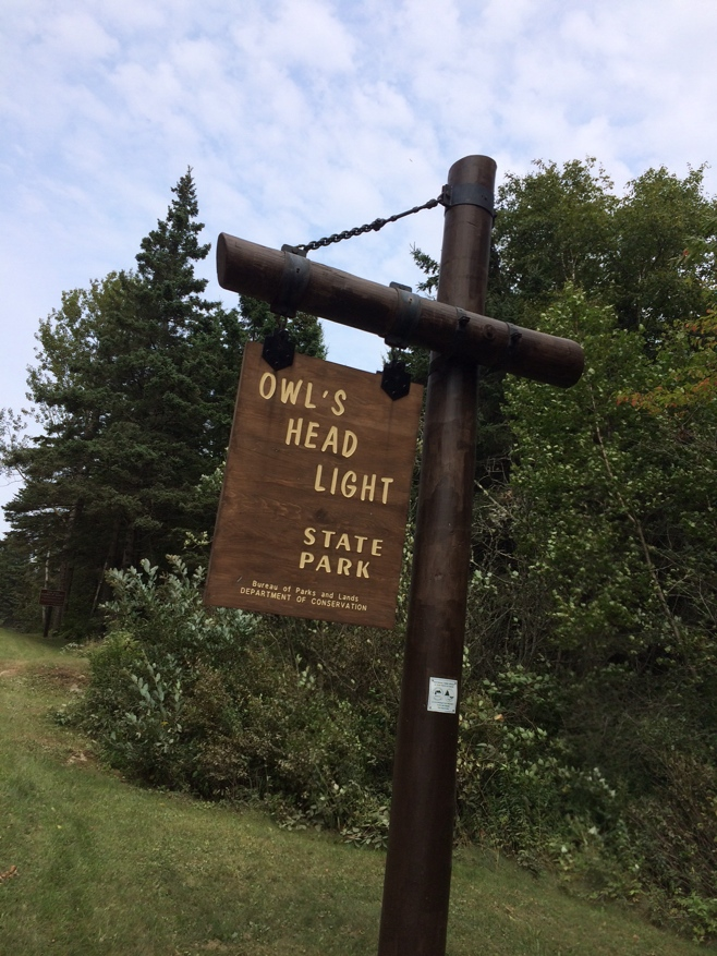 Owls head state park sign