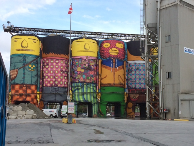 Painted concrete silo art