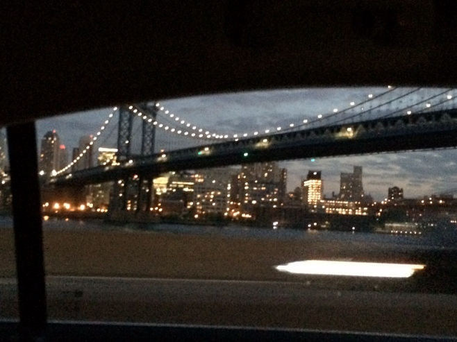 Brooklyn bridge view from cab window