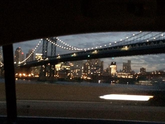 Brooklyn bridge view from cab window