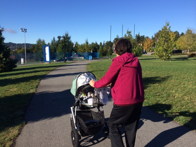 Grandma pushing stroller in park