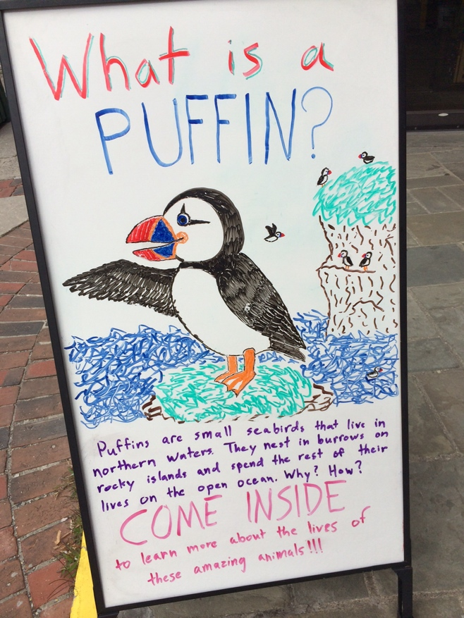 Sign with puffin information