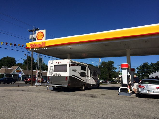 RV at a gas station