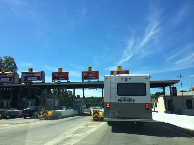 RV at tollbooth