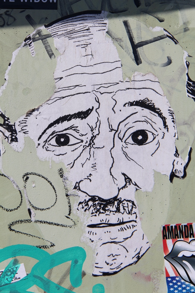 Street art of old man