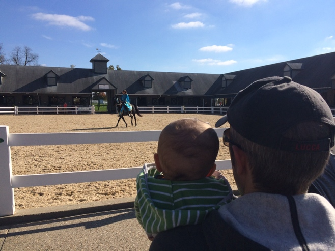 Man and baby watching horse show