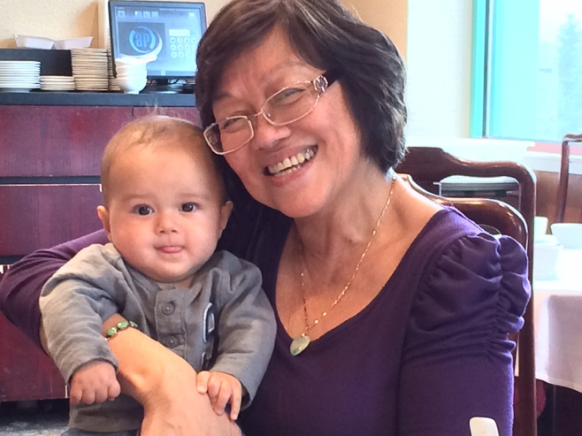 Baby and grandma at dim sum