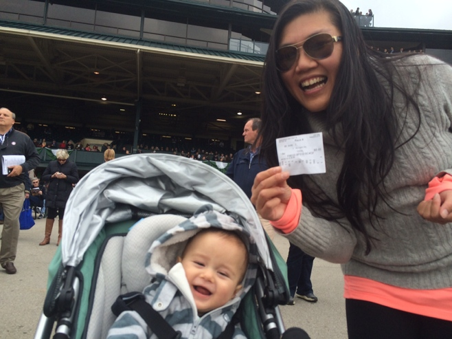 Baby and me with wagering ticket