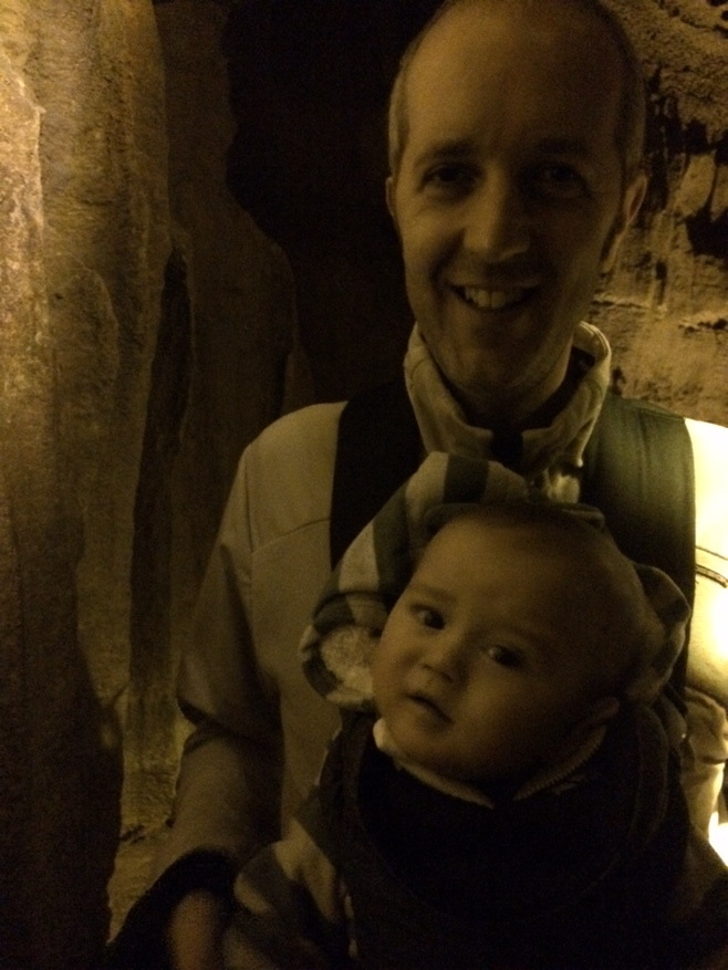 Baby with dad in mammoth caves