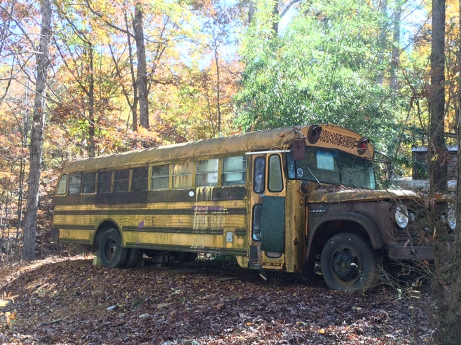 Yellow school bus in disrepair
