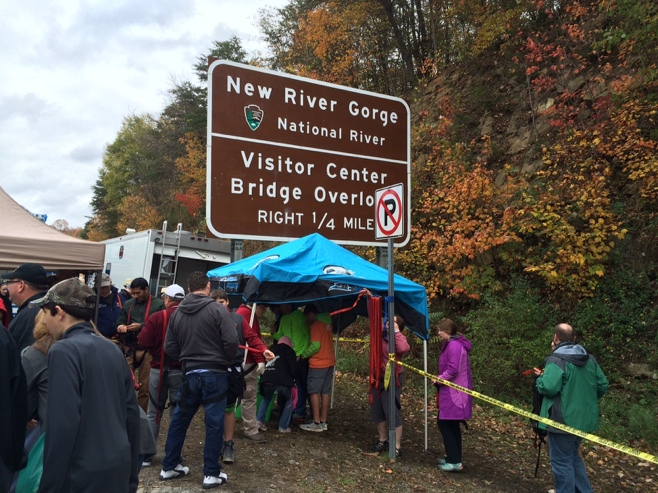 New river gorge sign with zip liners