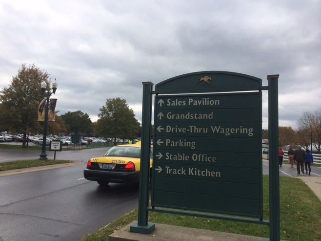 Drive in wagering sign at Keeneland race track