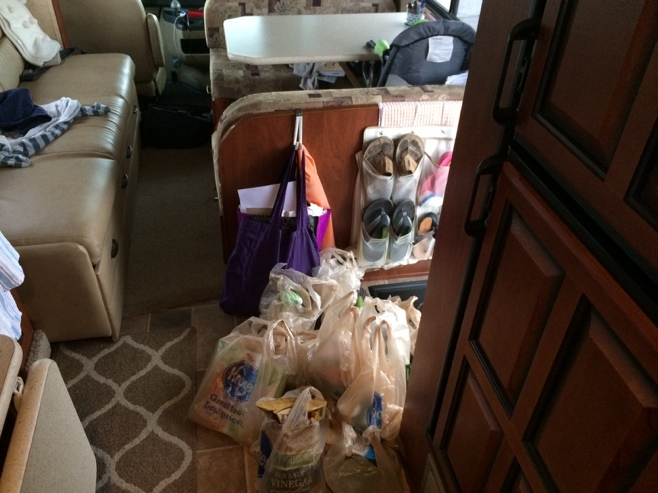 Grocery bags full of food in RV
