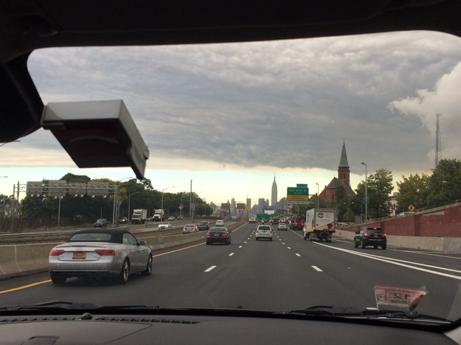 Manhattan skyline from front seat of a car