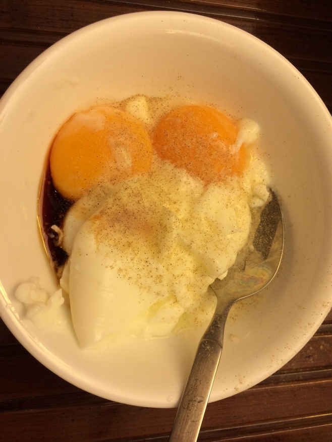 Runny eggs in a bowl