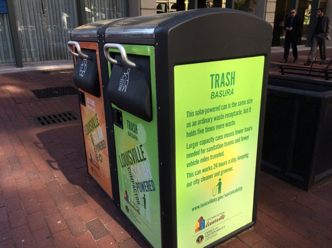 Solar powered trash cans