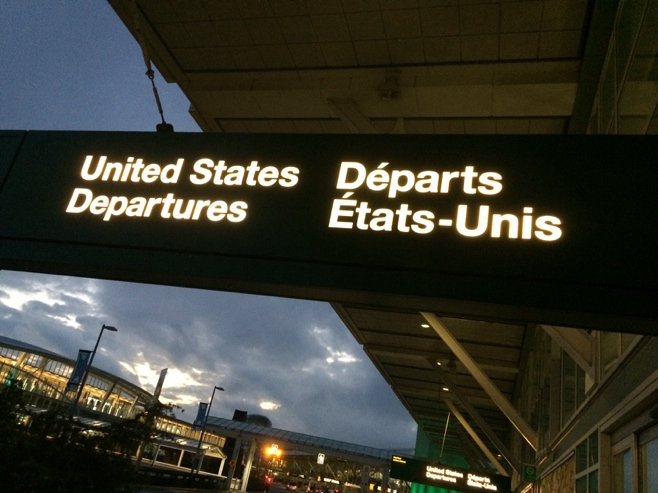 United States departure sign