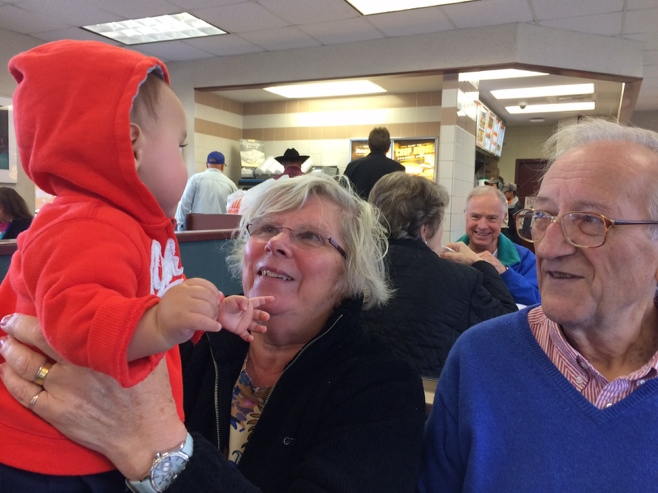 Baby with grandparents at whataburger