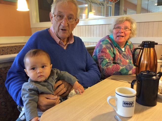 Baby with grandparents at IHOP