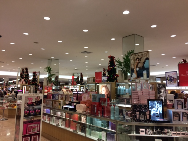 Christmas trees in the department store