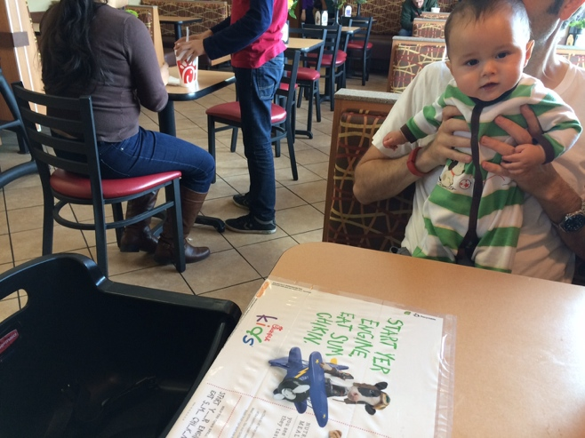 High chair and placemats at chick fil a