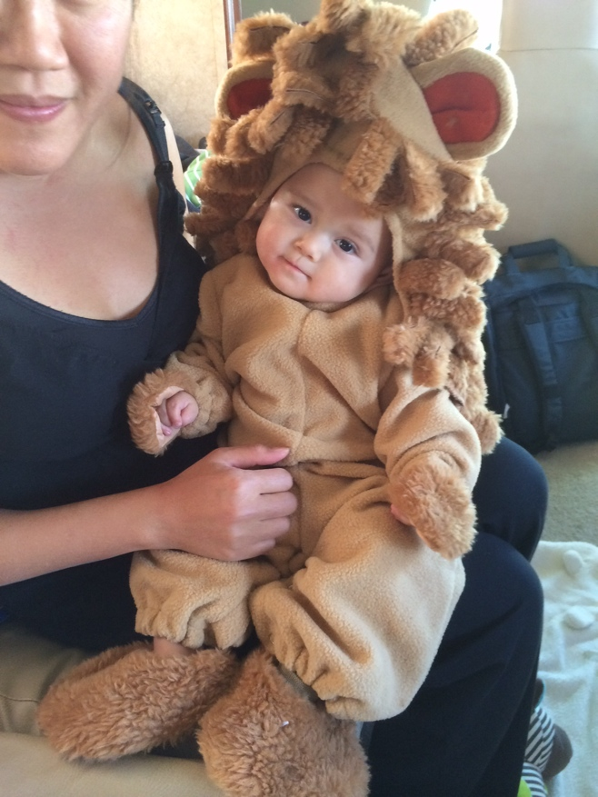 Mum and Baby Boy O dressing up in lion cub costume