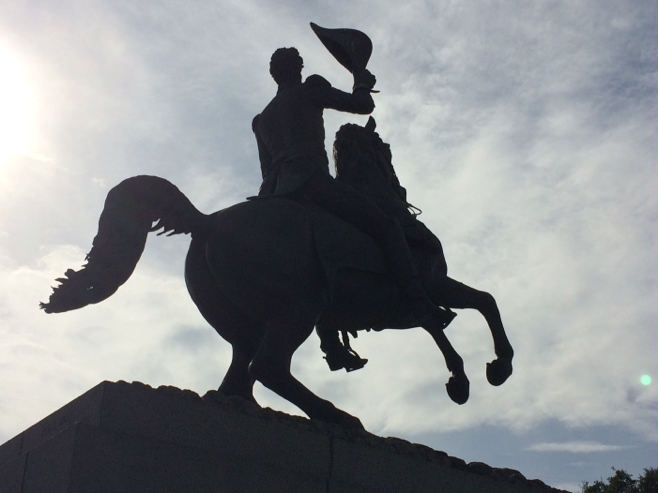 Statue of Andrew Jackson on horseback
